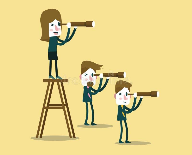 Gens d'affaires avec le télescope dans la perspective différente illustration stock