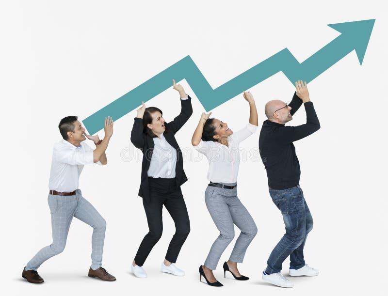Gens d'affaires avec une flèche montrant la croissance photo libre de droits