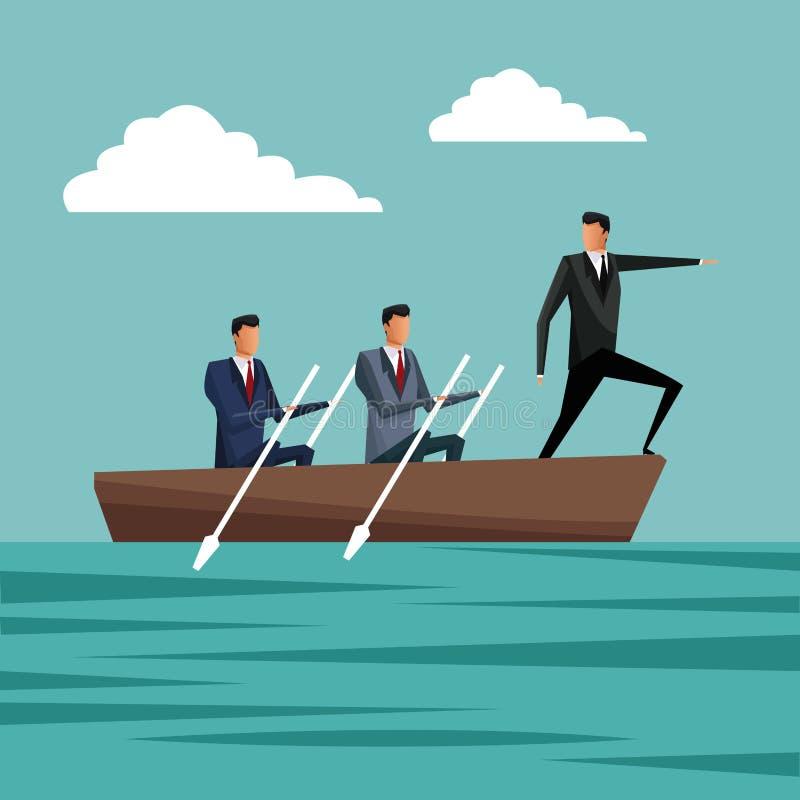 Gens d'affaires barbotant la croissance de directeur de travail d'équipe illustration libre de droits