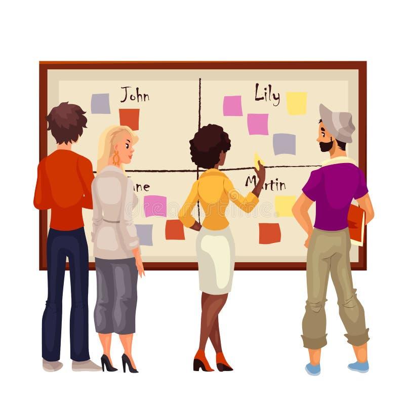 Gens d'affaires créatifs faisant un brainstorm des idées au conseil illustration de vecteur