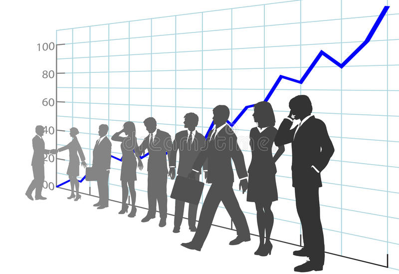 Gens d'affaires d'équipe de bénéfice de diagramme d'accroissement illustration libre de droits