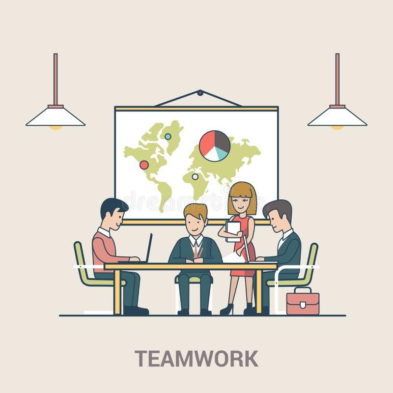 Gens d'affaires d'appartement linéaire de séance de réflexion de travail d'équipe illustration stock