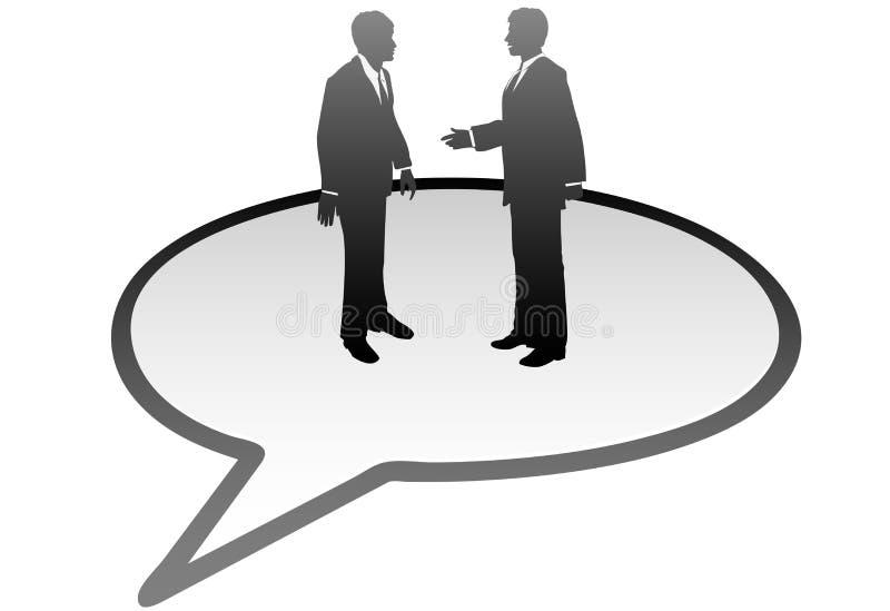Gens d'affaires d'entretien de transmission de bulle de la parole illustration stock