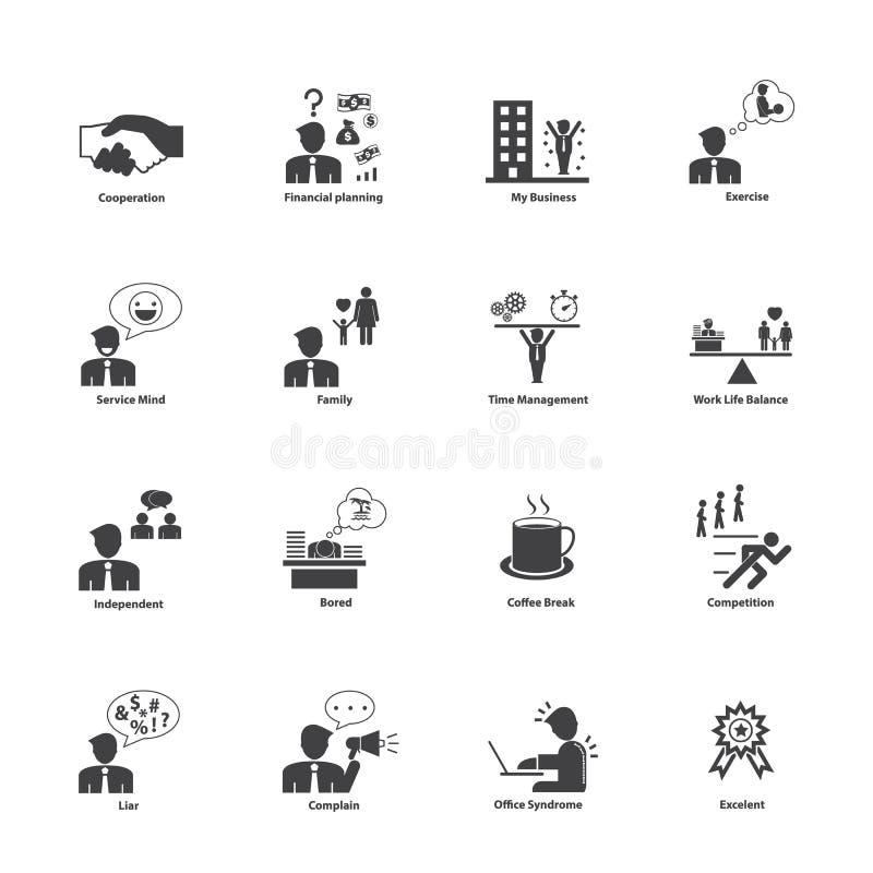 Gens d'affaires d'icônes d'activités réglées illustration libre de droits