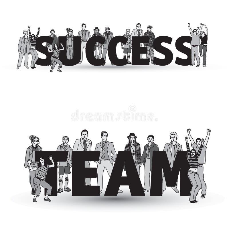 Gens d'affaires d'isolat de groupe d'équipe de succès noir et blanc illustration stock