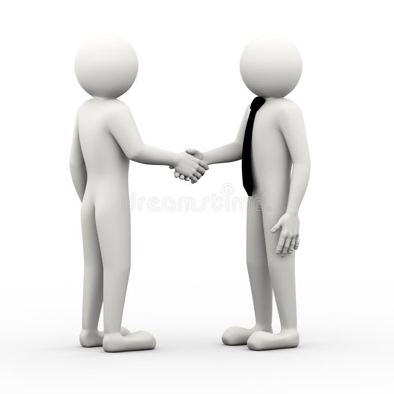 gens d'affaires 3d se serrant la main l'illustration illustration stock