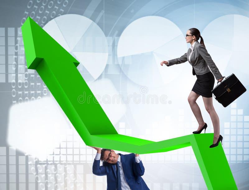 Gens d'affaires dans le concept d'affaires de reprise ?conomique images libres de droits