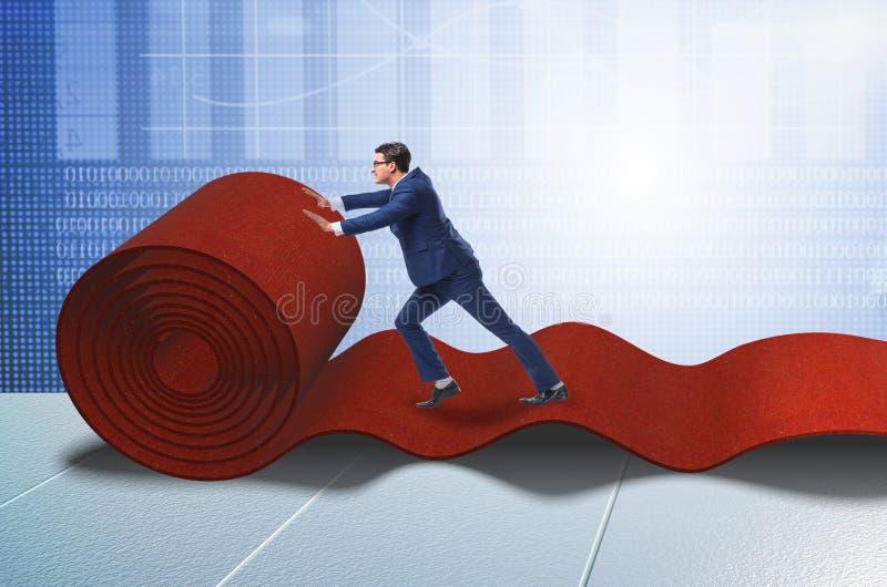 Gens d'affaires dans le concept de succ?s avec le tapis rouge photos stock