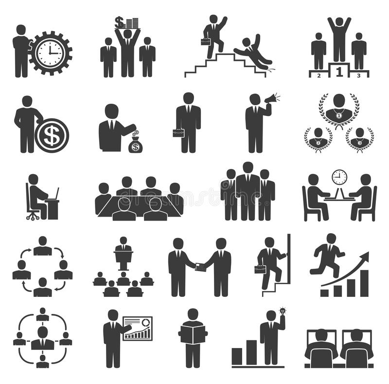 Gens d'affaires dans le travail Icônes de bureau, conférence, travail d'ordinateur illustration libre de droits