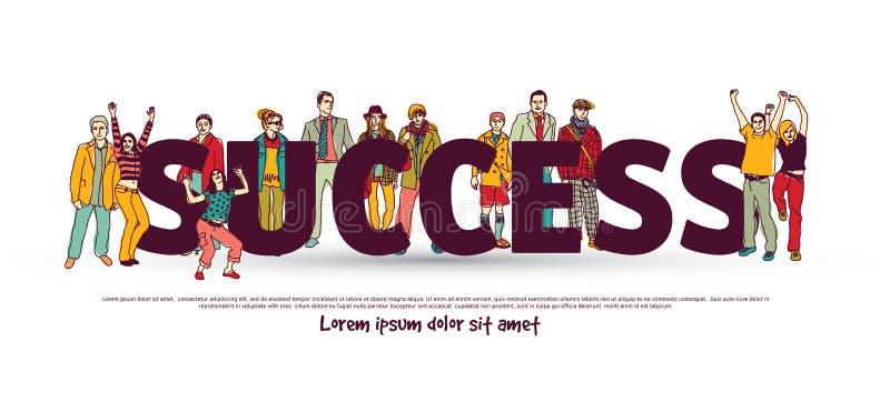 Gens d'affaires de blanc d'isolat de groupe d'équipe de succès illustration libre de droits