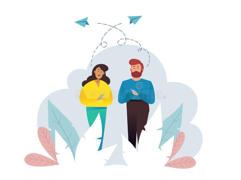 Gens d'affaires de groupe de causerie de bulle de communication Illustration de vecteur, style plat, photos stock