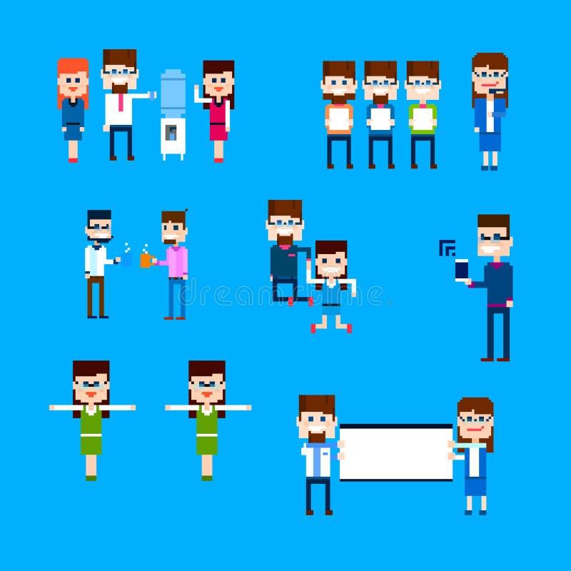 Gens d'affaires de groupe d'employé de bureau d'activité de conception réglée de pixel illustration de vecteur