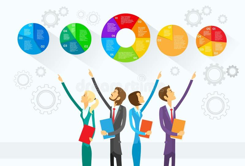 Gens d'affaires de groupe d'exposition de diagramme de tarte Infographic illustration libre de droits