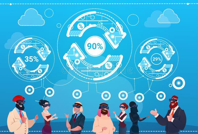 Gens d'affaires de groupe d'usage de Digital de réalité en verre de flèche de mise à jour de finances de concept de succès illustration stock