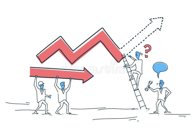 Gens d'affaires de groupe de bâtiment de graphique de finances avec la flèche vers le haut du concept financier de succès de prog illustration libre de droits