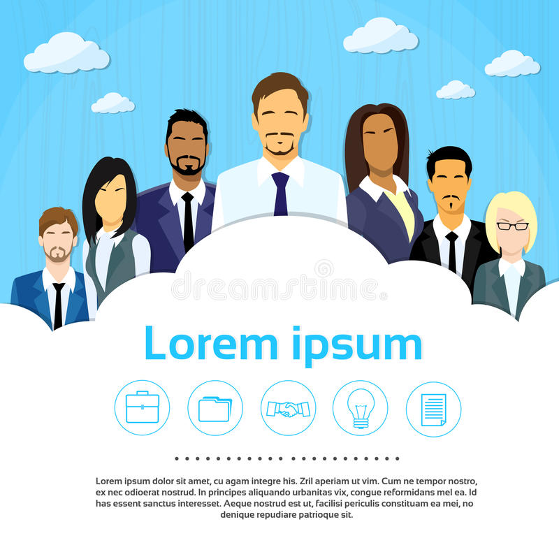 Gens d'affaires de groupe Team Cloud Copy Space Flat illustration stock