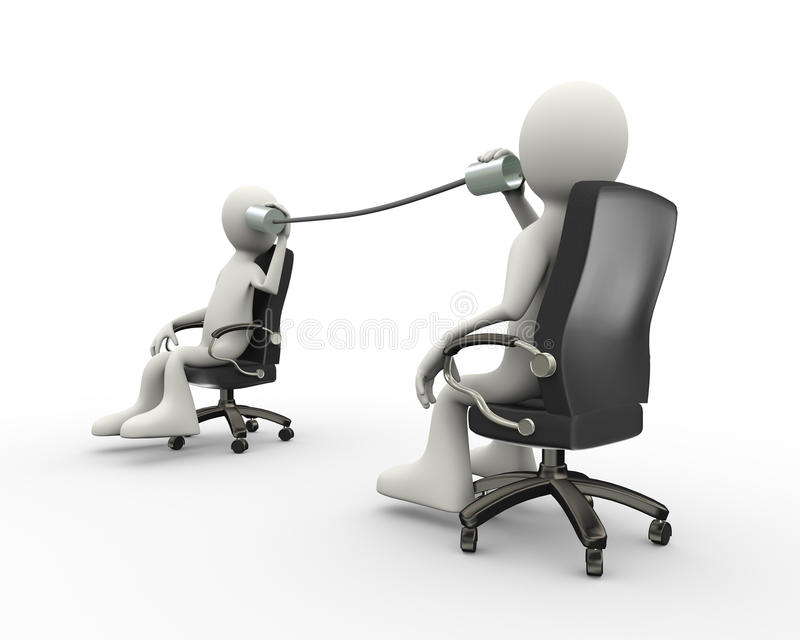 gens d'affaires de la boîte 3d en fer blanc de communication métallique de téléphone illustration de vecteur
