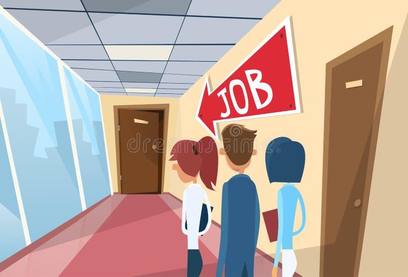Gens d'affaires de ligne recherchant Job Interview illustration stock