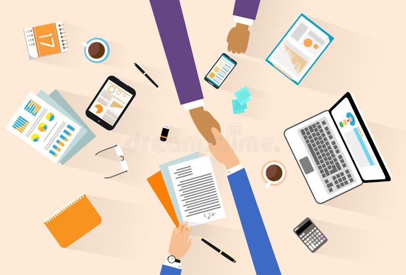Gens d'affaires de poignée de main de signature de réunion illustration stock