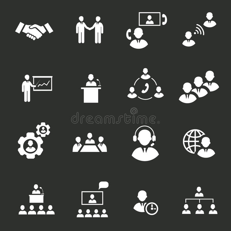 Gens d'affaires de réunion en ligne stratégique illustration stock