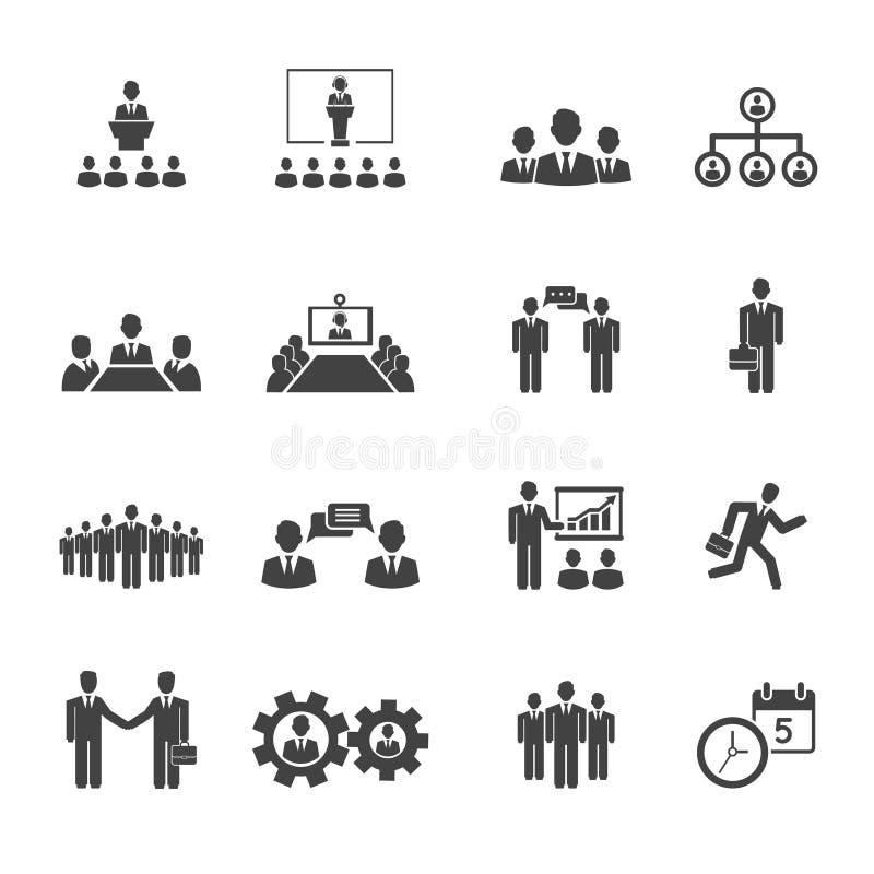 Gens d'affaires de réunions et icônes de conférences illustration stock