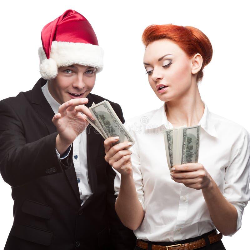 Gens d'affaires de Santa de chapeau d'encaisse monétaire image stock