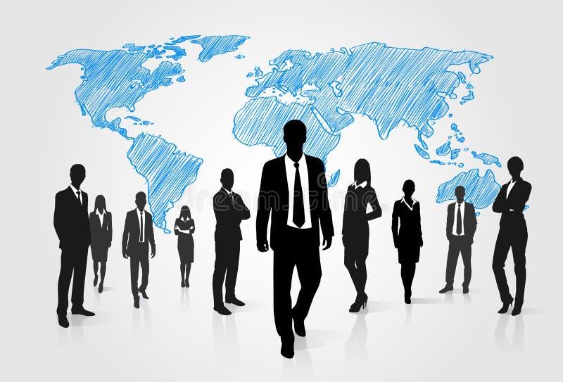 Gens d'affaires de silhouette de groupe au-dessus du monde global illustration de vecteur
