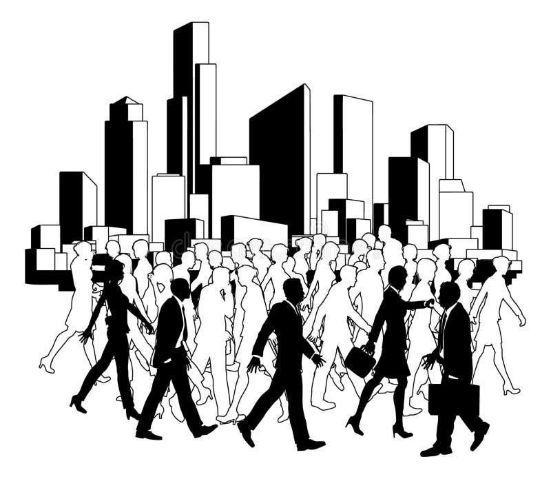 Gens d'affaires de silhouette de ville illustration libre de droits