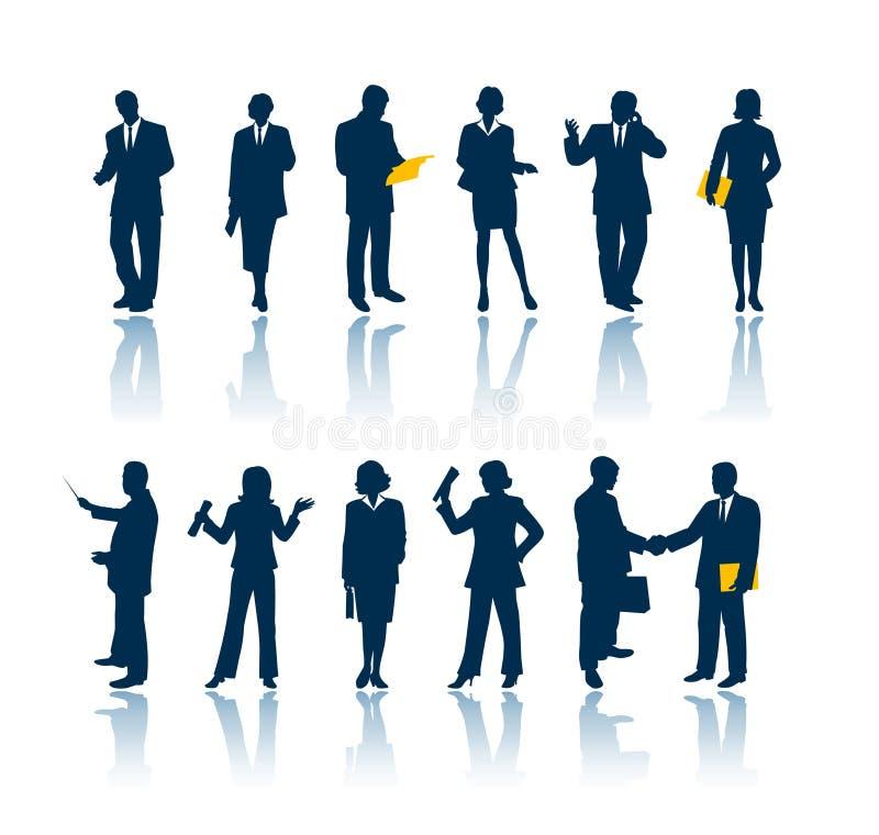 Gens d'affaires de silhouettes illustration stock