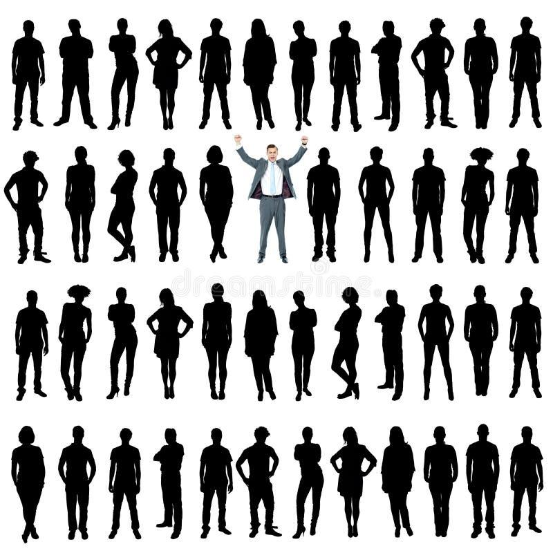 Gens d'affaires de silhouettes, concept unique illustration de vecteur