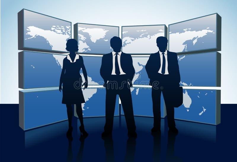 Gens d'affaires de silhouettes du monde de moniteurs de carte illustration libre de droits