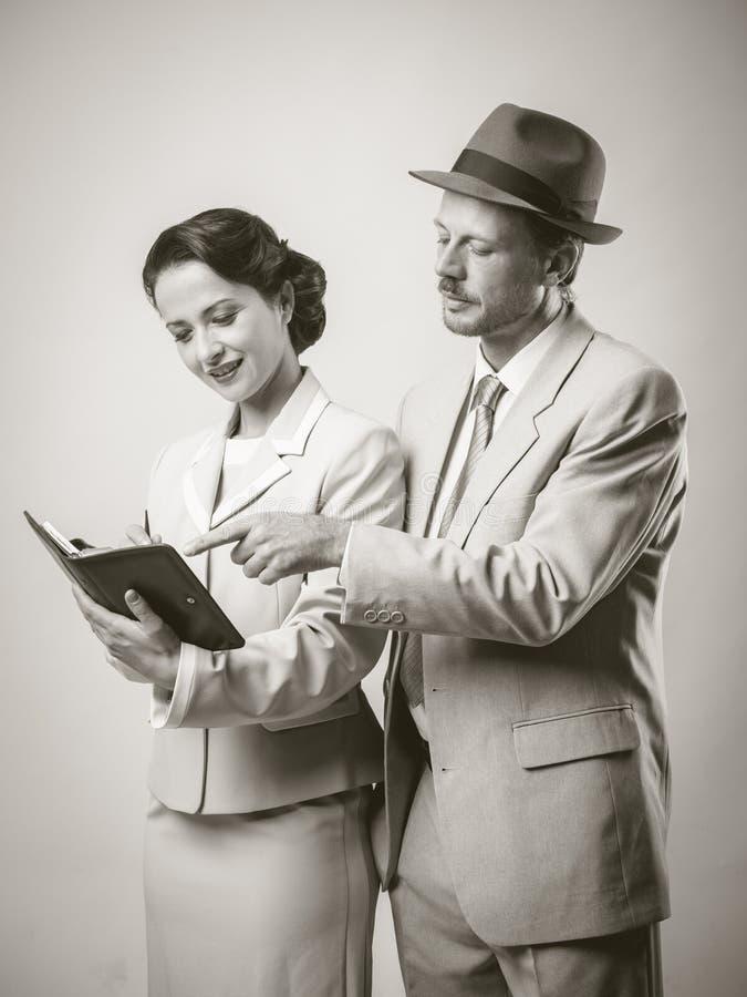 Gens d'affaires de sourire de vintage image libre de droits