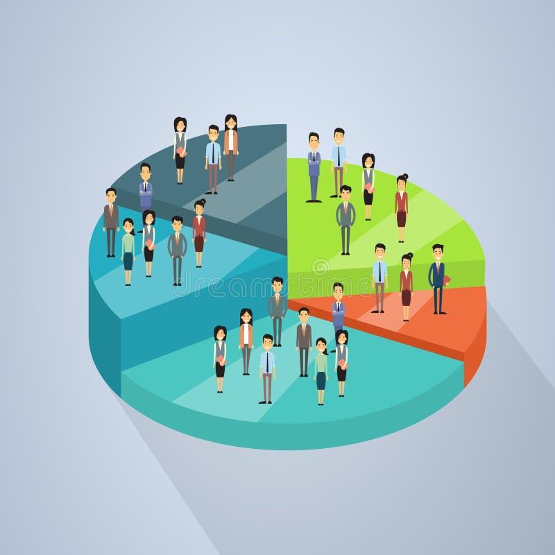 Gens d'affaires de support de groupe sur le concept 3d de travail d'équipe de succès de diagramme de tarte isométrique illustration de vecteur