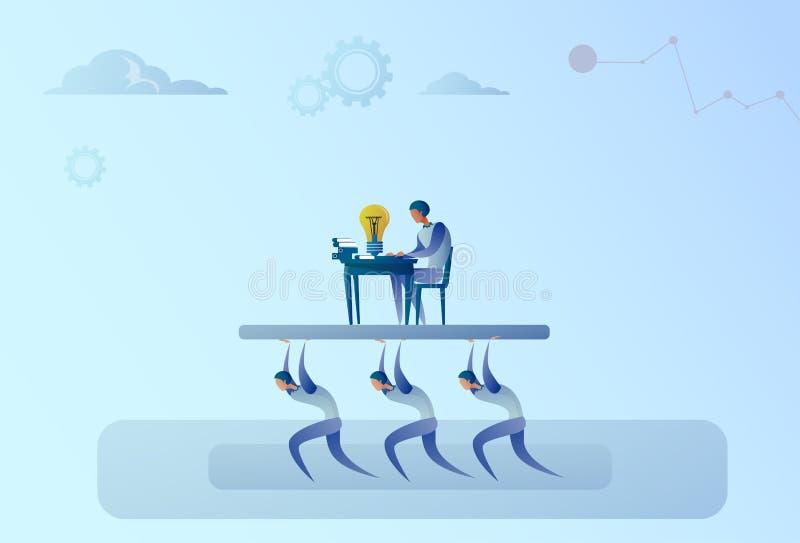 Gens d'affaires de Team Carry Boss Businessman Working On d'ordinateur de concept de direction illustration de vecteur