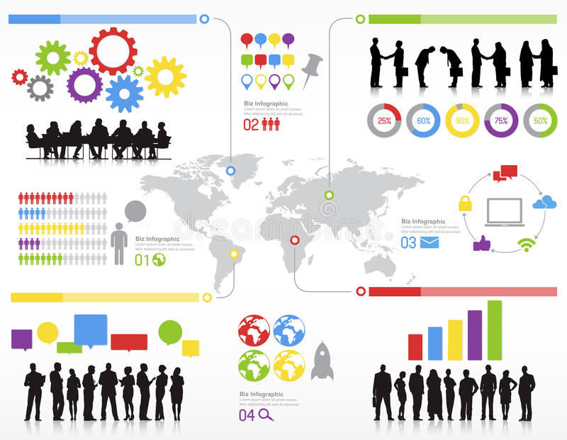 Gens d'affaires de Team Teamwork Global Concept de statistiques illustration stock