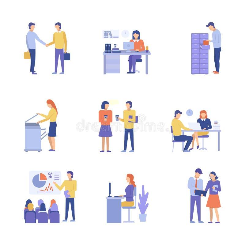 Gens d'affaires de vecteur de concept de bureau de conception plate d'illustration illustration stock
