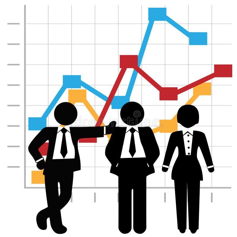 Gens d'affaires de ventes d'équipe de diagramme de graphique illustration de vecteur