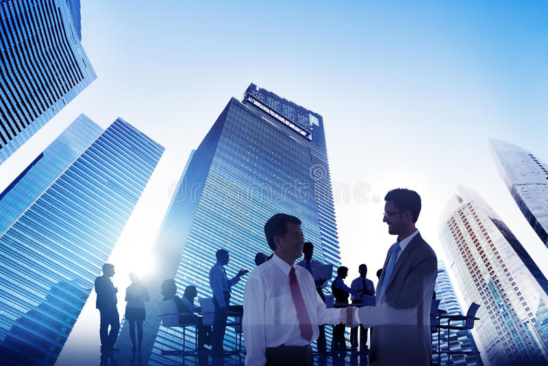Gens d'affaires de vision d'aspiration de buts de concept d'entreprise de ville image stock
