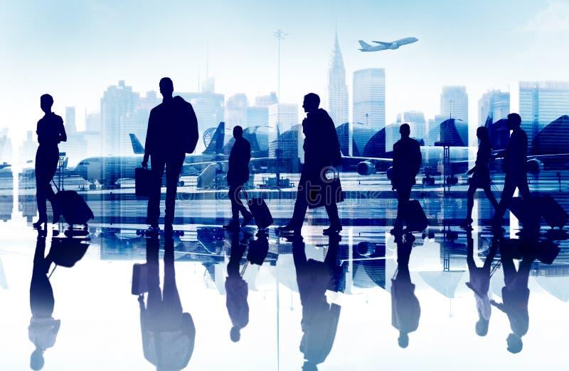 Gens d'affaires de voyage d'Aiport de concept d'entreprise de passager image libre de droits