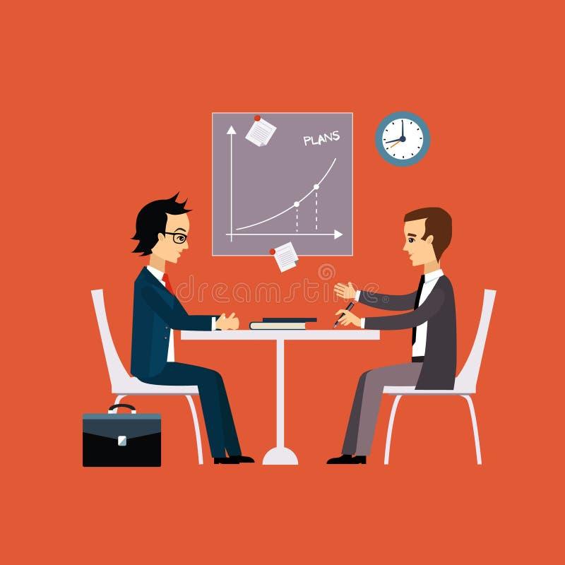 Gens d'affaires, deux hommes à la négociation de table illustration libre de droits