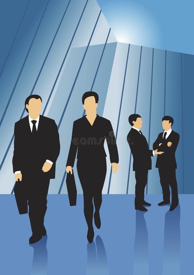 Gens d'affaires devant la construction en verre illustration libre de droits