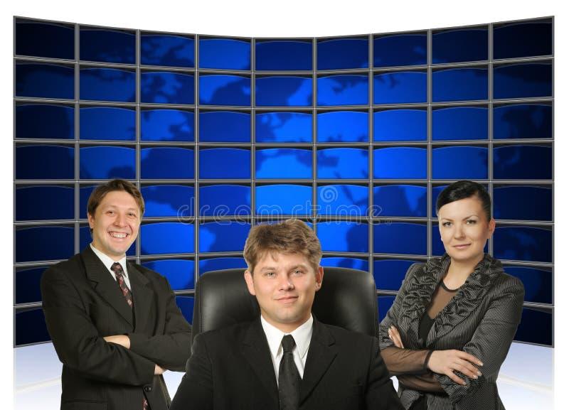 Gens d'affaires et dos de la terre de carte photos stock