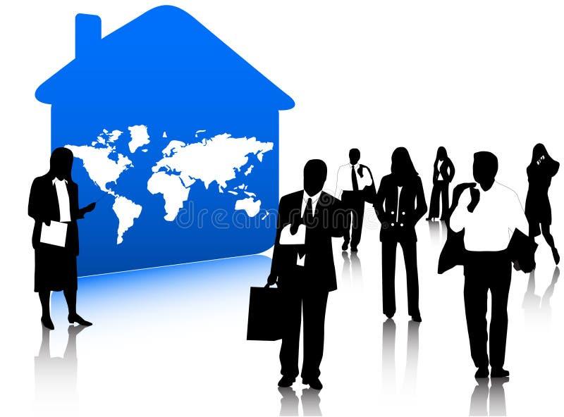 Gens d'affaires et maison illustration libre de droits