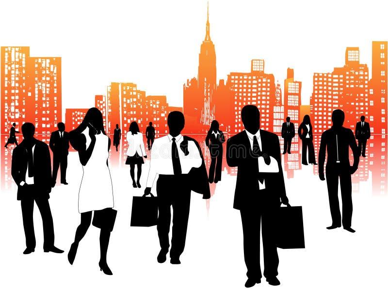 Gens d'affaires et ville illustration libre de droits