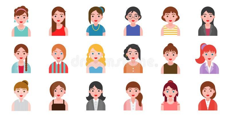 Gens d'affaires féminins de caractère de bureau dans la conception plate illustration stock