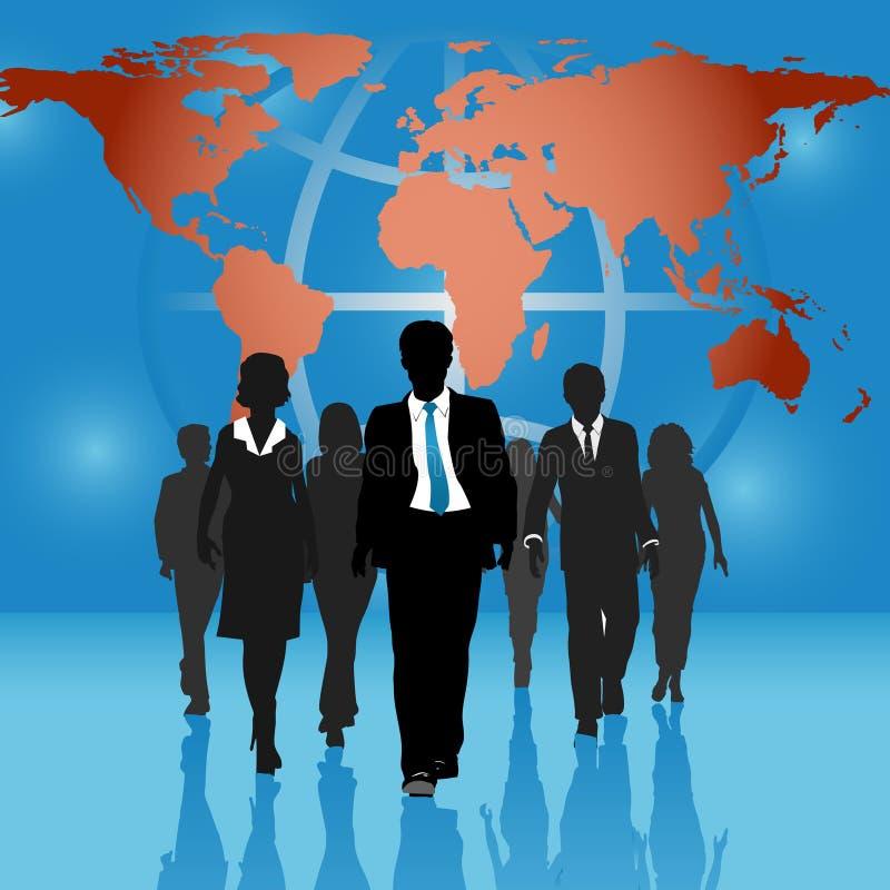 Gens d'affaires global d'équipe du monde de fond de carte illustration libre de droits