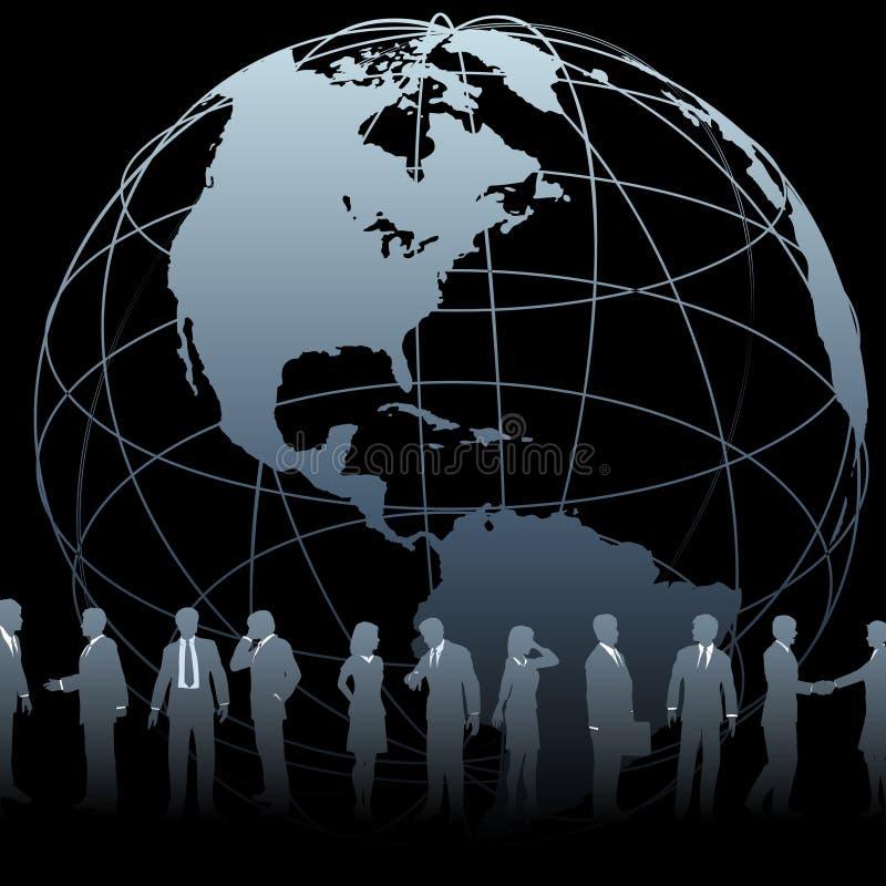 Gens d'affaires global de globe de la terre illustration stock