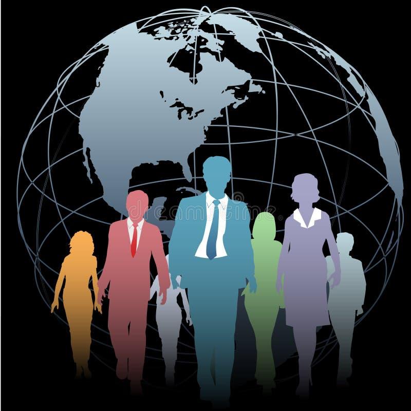 Gens d'affaires global de globe de la terre sur le noir illustration libre de droits