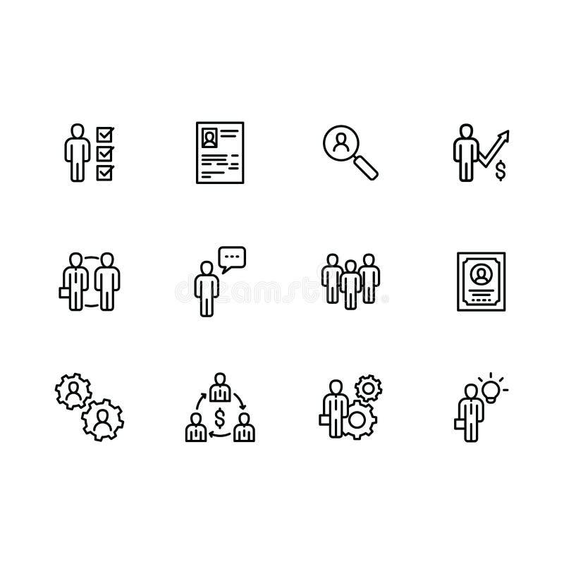 Gens d'affaires d'icône de vecteur Réunion de bureau, entrevue d'affaires, travail d'équipe et renforcement d'équipe Recrutant, r illustration stock