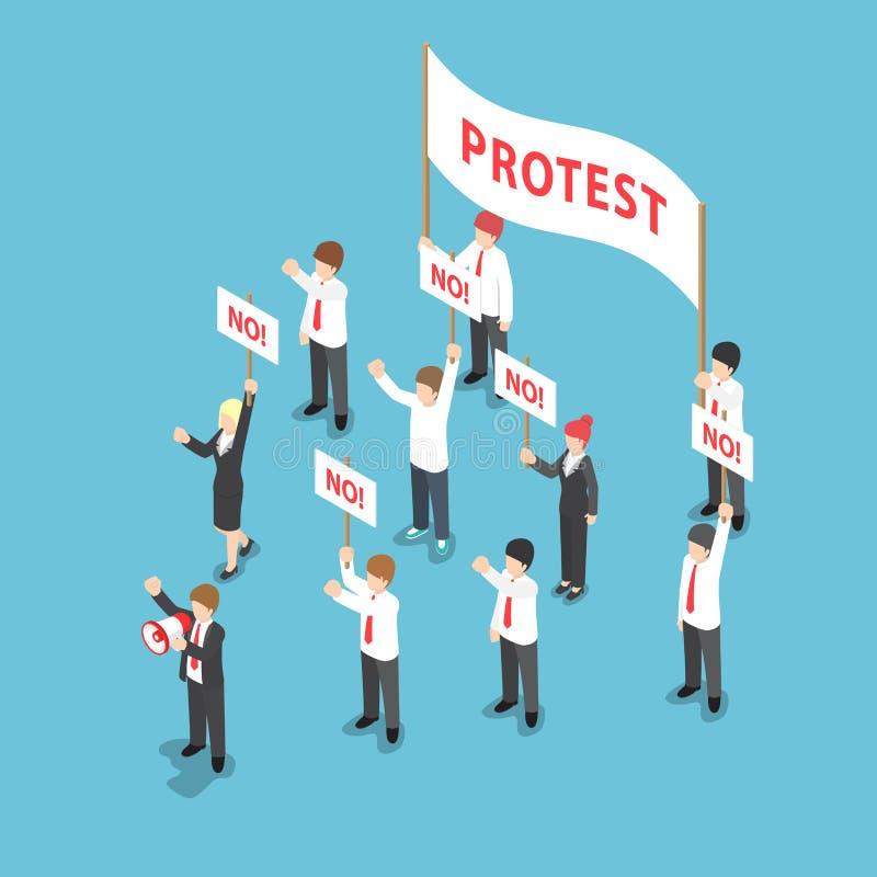 Gens d'affaires isométriques de démonstration ou protestation avec le mégaphone illustration stock